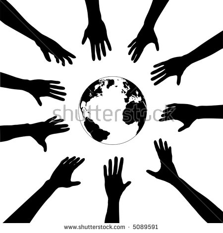 People Earth Circle Human Hands Reach Stock Vector 5089591.