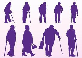 Elderly People Silhouettes, free vectors.