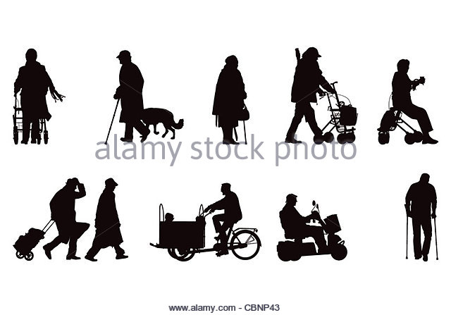 Elderly Silhouettes Collection Stock Photos & Elderly Silhouettes.