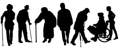 Silhouette of old people clipart collection 4.