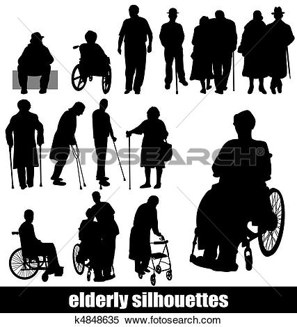 Clipart of elderly silhouettes k4848635.