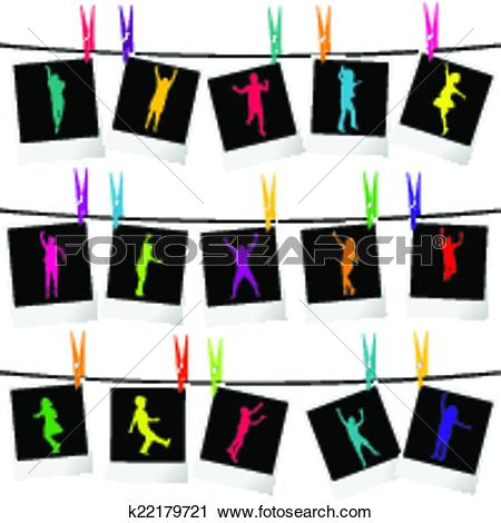 Clipart of Collection of photo frames with children silhouettes.