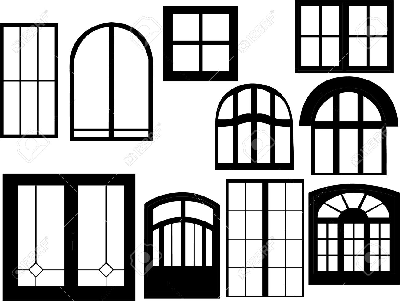 Window Collection Silhouette Royalty Free Cliparts, Vectors, And.