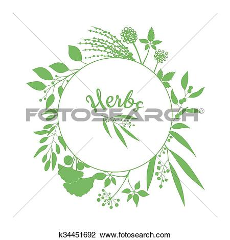 Clipart of Fresh herbs store emblem. Green round frame with.