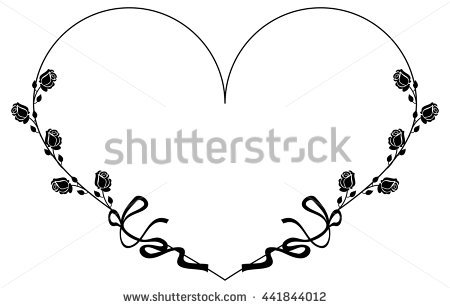 Heartshaped Silhouette Frame Roses Vector Clip Stock Vector.