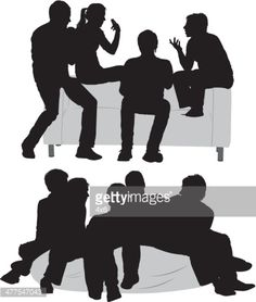 black silhouettes of three small groups of people standing and.