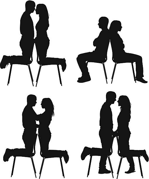 Silhouette Of The Sitting Back To Back Clip Art, Vector Images.