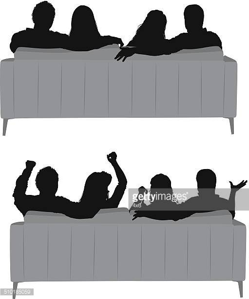 Silhouettes Of Friends Sitting On Couch Vector Art.