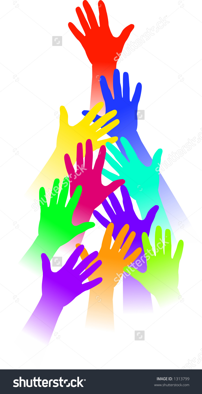 Vector Silhouette Graphic Depicting Reaching Hands Stock Vector.