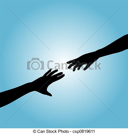 Clipart of Hands Couple Silhouette Reach.