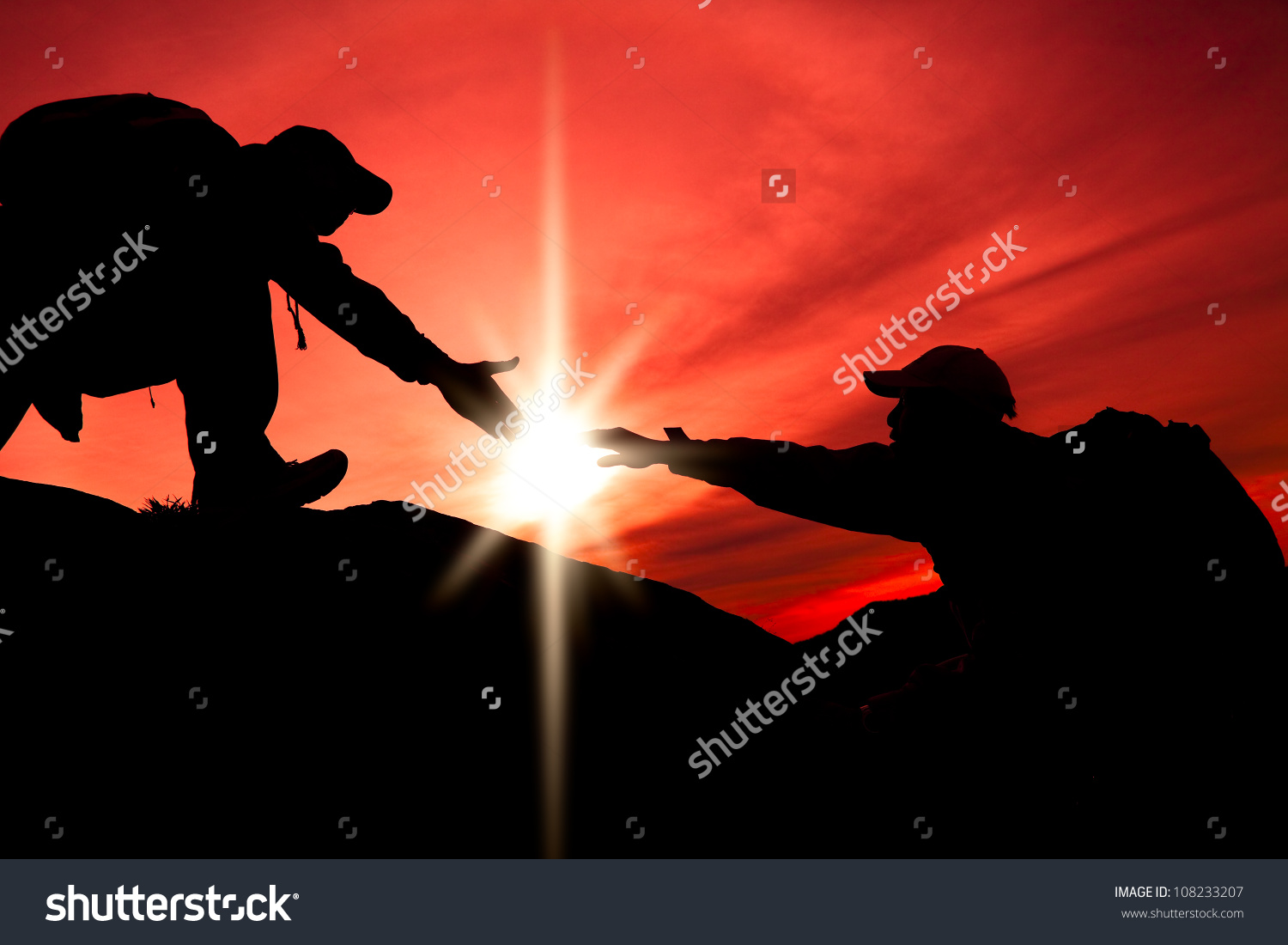 Silhouette Helping Hand Between Two Climber Stock Photo 108233207.