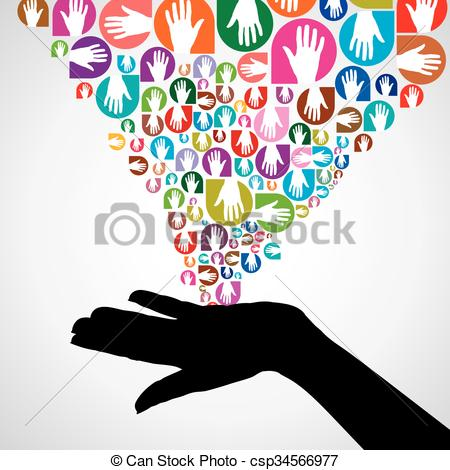 Vectors Illustration of silhouette helping hand concept.