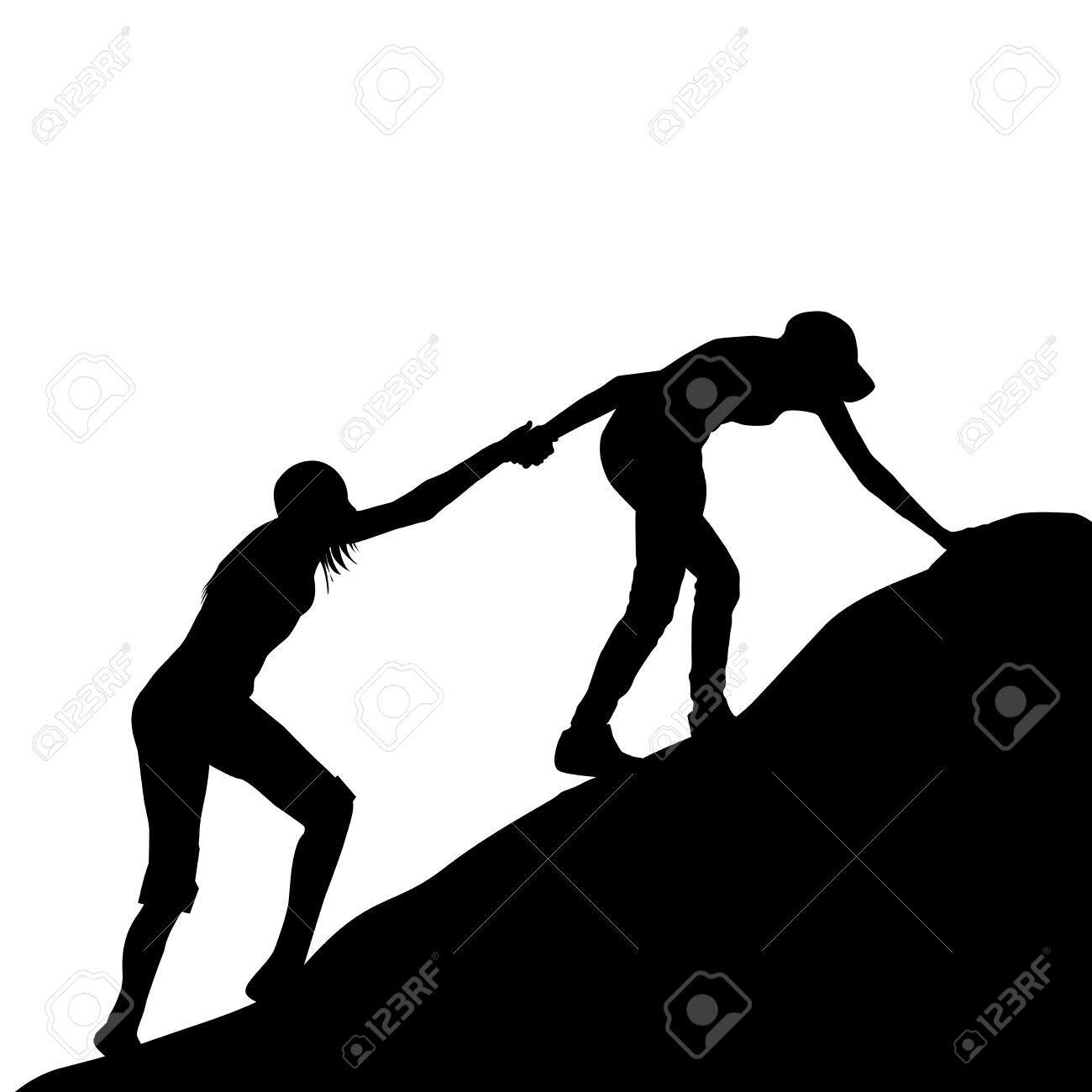 Silhouettes Of Girl Giving Helping Hand To Her Friend To Climb.