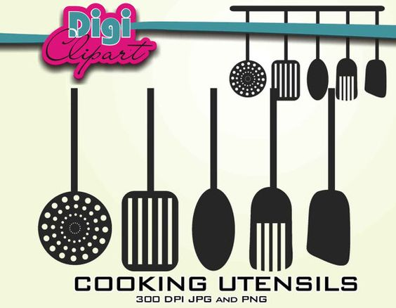 Kitchen Cooking Utensils Silhouette Clip Art.
