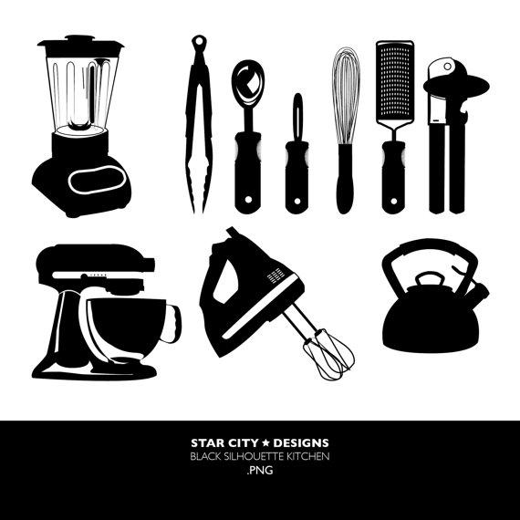 Black Kitchen Silhouette Clip Art Clipart by StarcityDesigns.