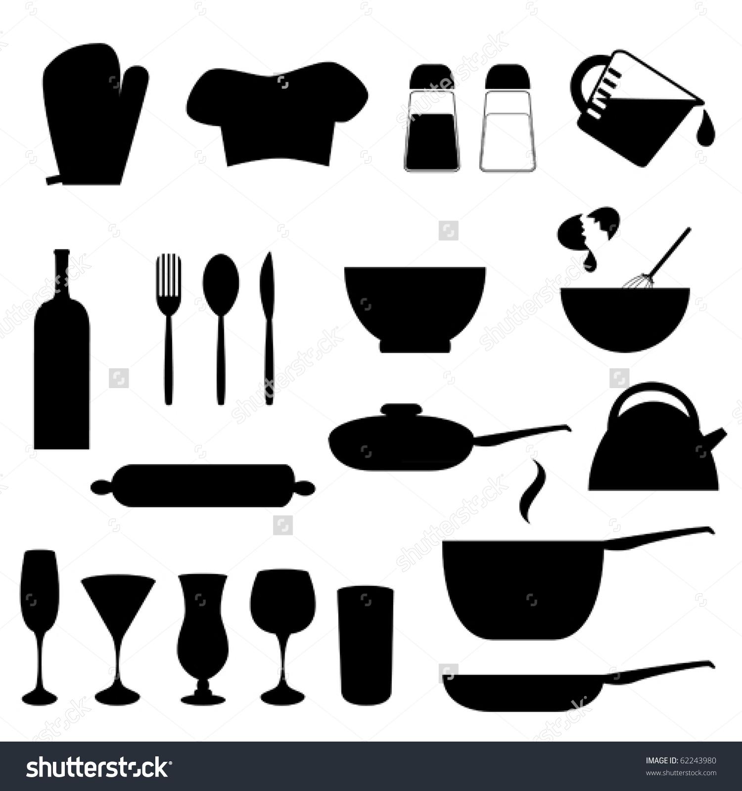 Various Kitchen Utensils Silhouette Stock Vector 62243980.