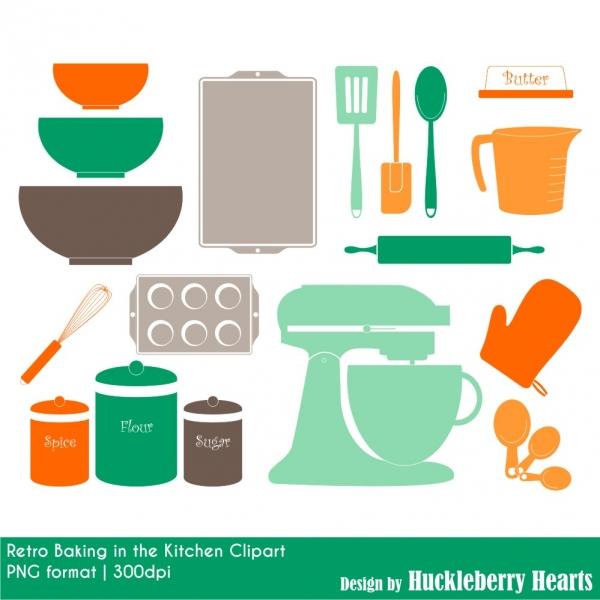 Retro Baking Clipart, Kitchen Clipart, Cooking Clipart.