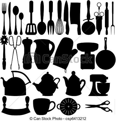 Clip Art of Kitchen objects.