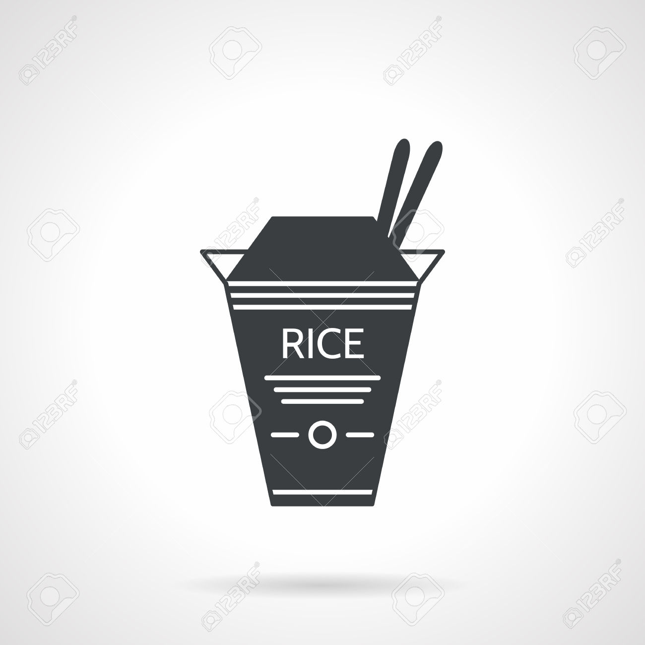 Single Black Silhouette Vector Icon For Box With Rice And Two.