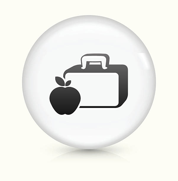 Lunch Box And Apple Icon On White Round Vector Button Clip Art.