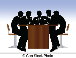 Vector of business people meeting sitting silhouette.