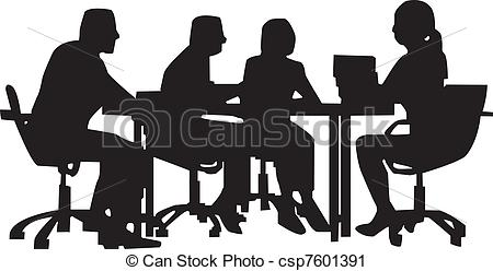Vector Clip Art of Office meeting worker at desk in meeting.