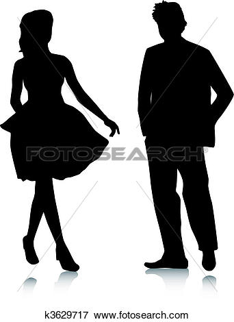 Clip Art of Silhouette girls and man meeting k3629717.