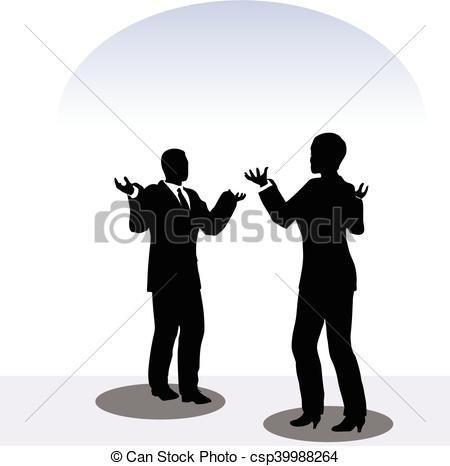 Clip Art Vector of man and woman silhouette in meeting pose.