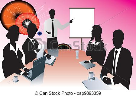 EPS Vectors of business meeting silhouette csp9893359.