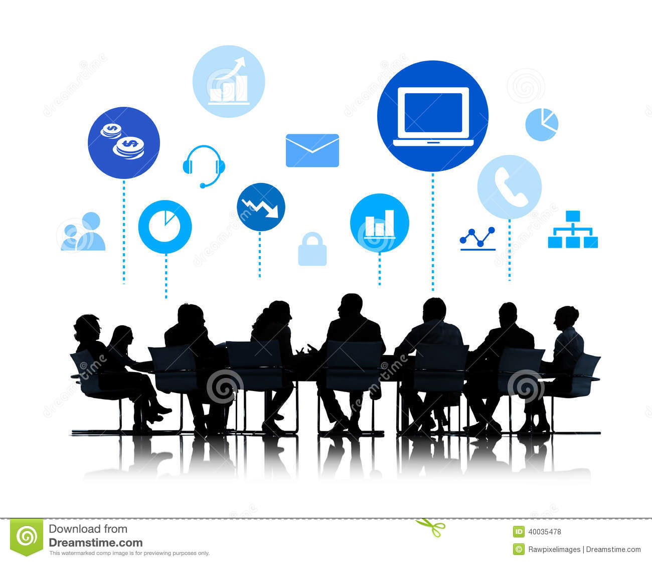 Silhouette Of Business Meeting With Infographic Stock Illustration.