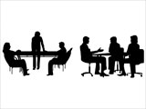 Business Meetings Silhouettes for PowerPoint Presentations.