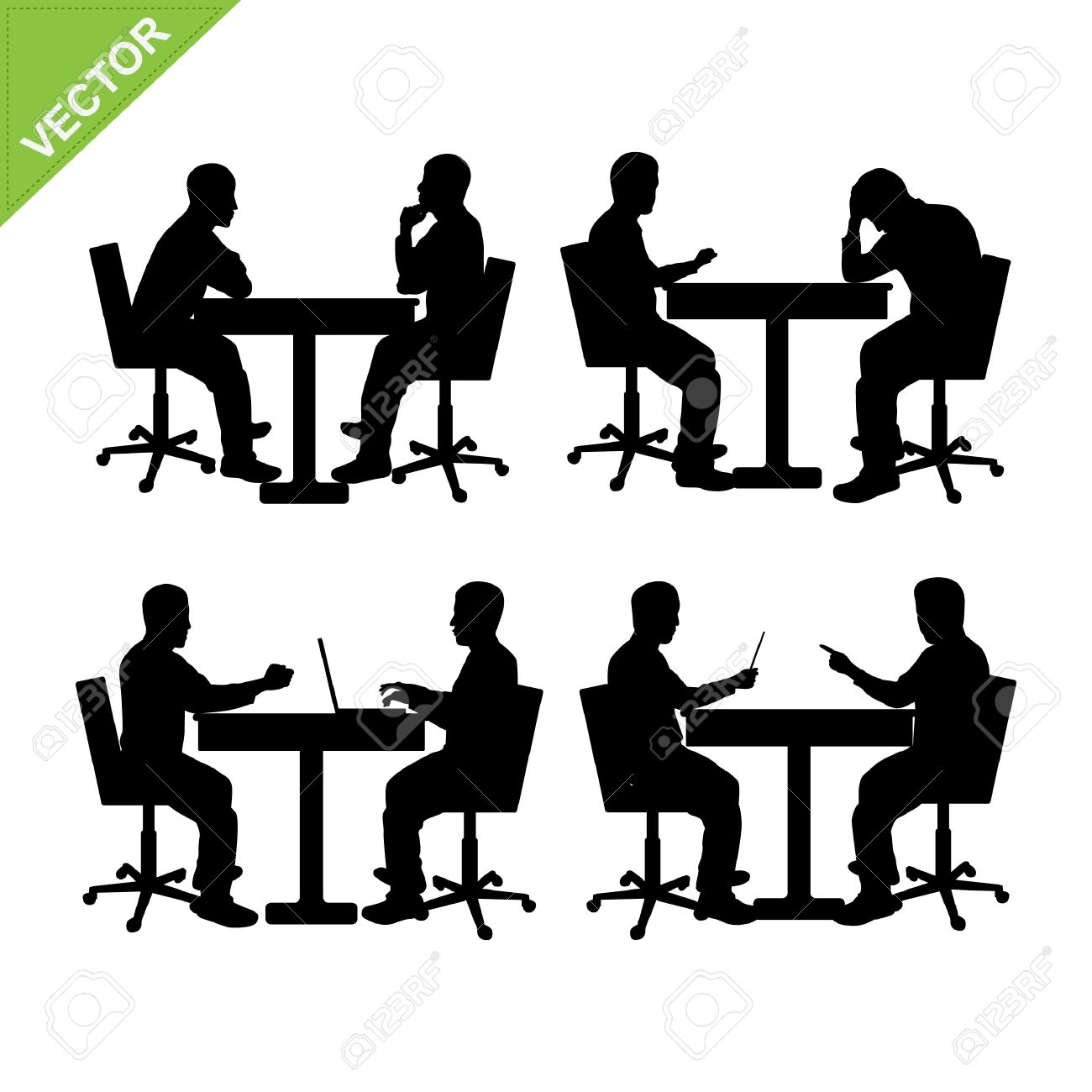 Business Man Meeting Silhouette Vector Royalty Free Cliparts.