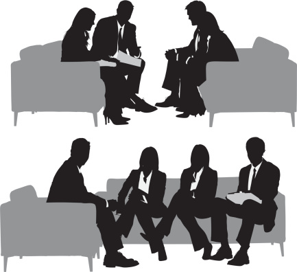 Silhouette Of The Meeting Clip Art, Vector Images & Illustrations.
