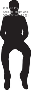 Clip Art Illustration of a Man Sitting Silhouette.