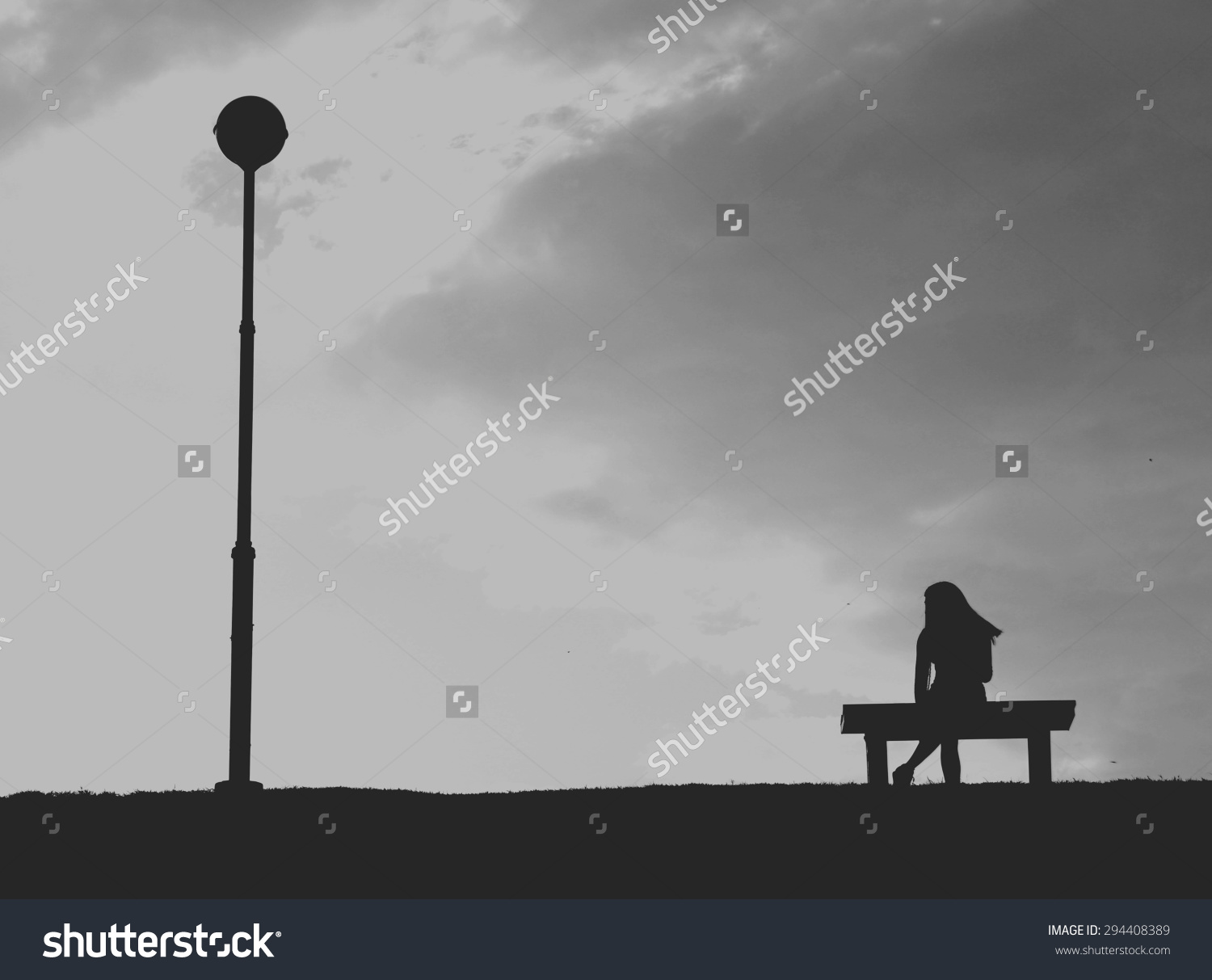 Silhouette Woman Sitting Alone Grey Sky Stock Photo 294408389.