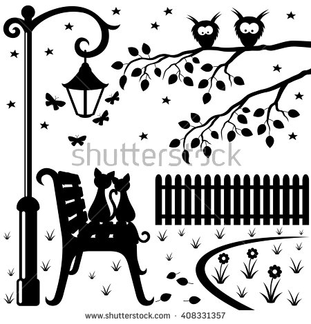 Vector illustration. Two cats sitting on a park bench under a.