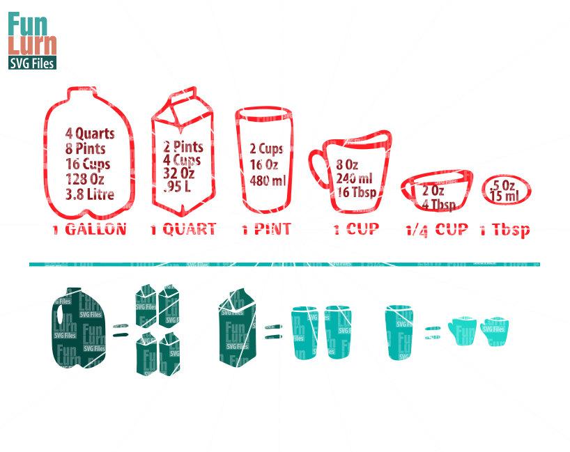 Kitchen Measurements SVG Gallon Quart Pint Cup.