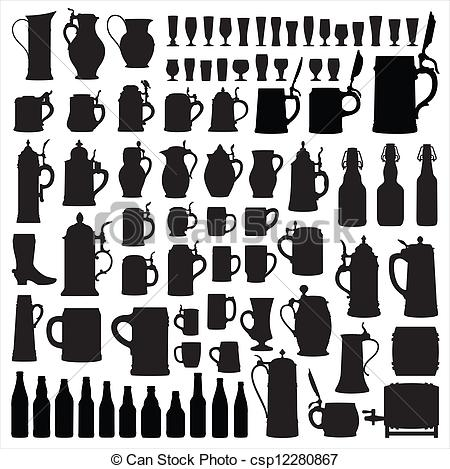 Clip Art Vector of Beerware silhouettes.