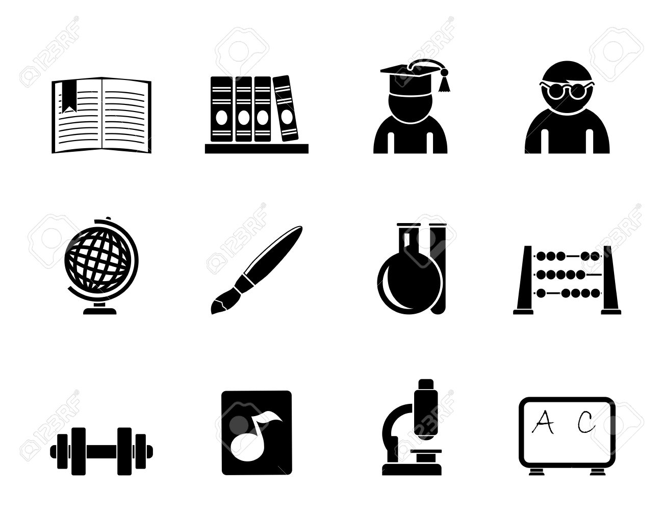 Silhouette School And Education Icons.
