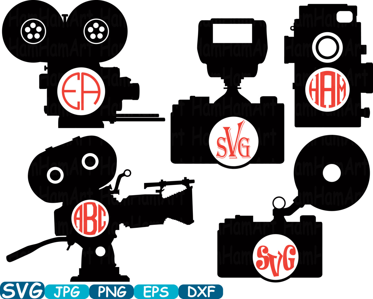 Old Camera Circle Cutting File SVG Monogram Clipart Silhouette.