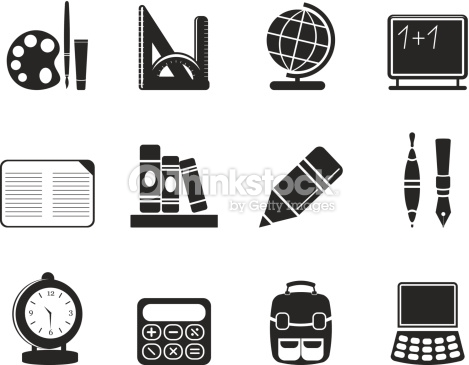 Silhouette School And Education Icons Vector Art.