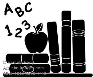 Clip Art Image of School Books With an Apple for Teacher in.