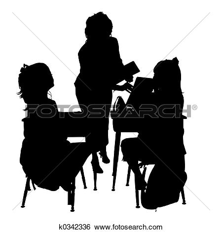 Stock Illustration of Silhouette School k0342336.