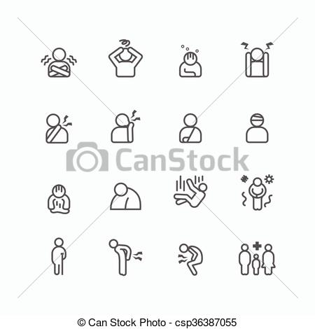 Clipart Vector of sick and symptoms injuries silhouette icons flat.