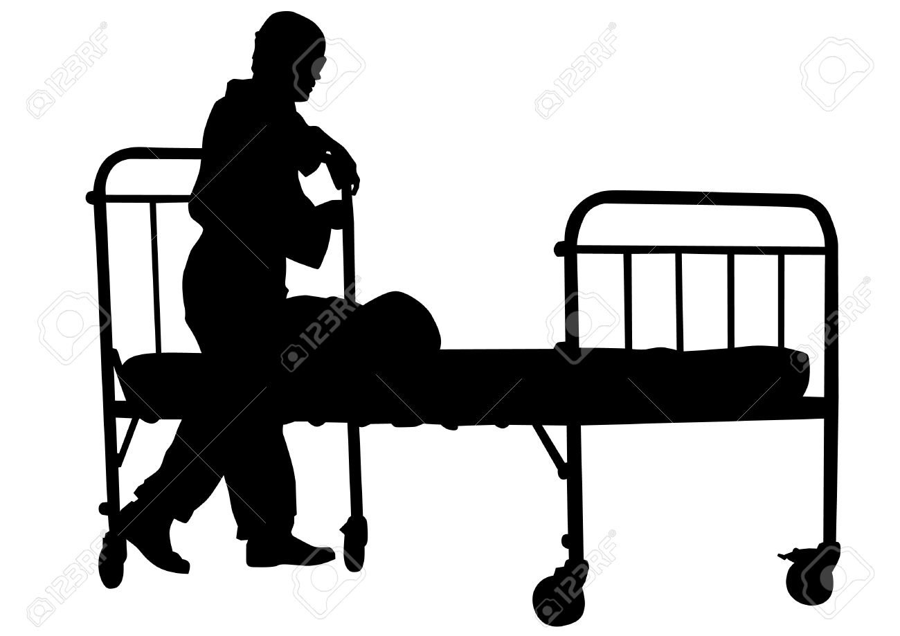 Silhouette Of Sick Man In Pajamas Near Bed Royalty Free Cliparts.