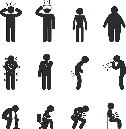 Silhouette Of The Sick Character Clip Art, Vector Images.