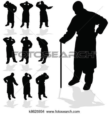 Clipart of sick man black silhouette k8625934.