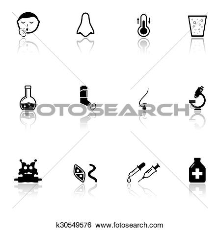 Clip Art of sick icons set with mirror reflection silhouette.