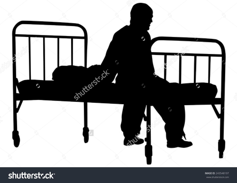 Silhouette Sick Man Pajamas Near Bed Stock Vector 243548197.