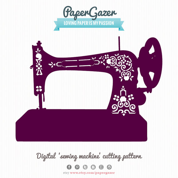 clipart silhouette vintage sewing machine - Clipground